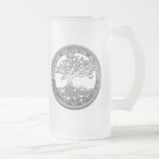 [200] Celtic Tree of Life [Silver] Frosted Glass Mug