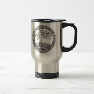 [200] Celtic Tree of Life [Silver] Stainless Steel Travel Mug