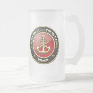 [200] Corpo De Fuzileiros Navais [Brasil] (CFN) Frosted Glass Beer Mug
