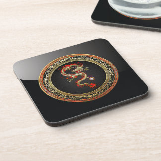 [200] Golden Chinese Dragon Fucanglong Drink Coasters