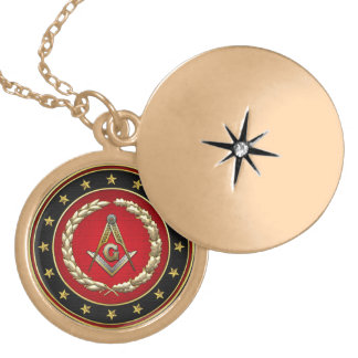 [200] Masonic Square and Compasses [3rd Degree] Round Locket Necklace