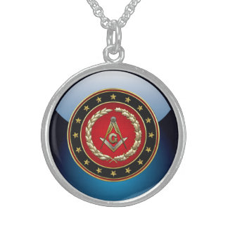 [200] Masonic Square and Compasses [3rd Degree] Round Pendant Necklace
