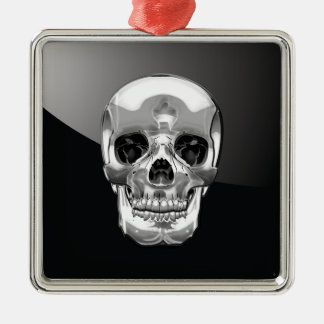 [200] Silver Human Skull Christmas Ornament