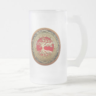 [200] Treasure Trove: Celtic Tree of Life [Gold] Frosted Glass Beer Mug