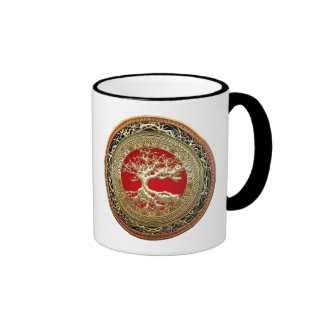[200] Treasure Trove: Celtic Tree of Life [Gold] Ringer Mug