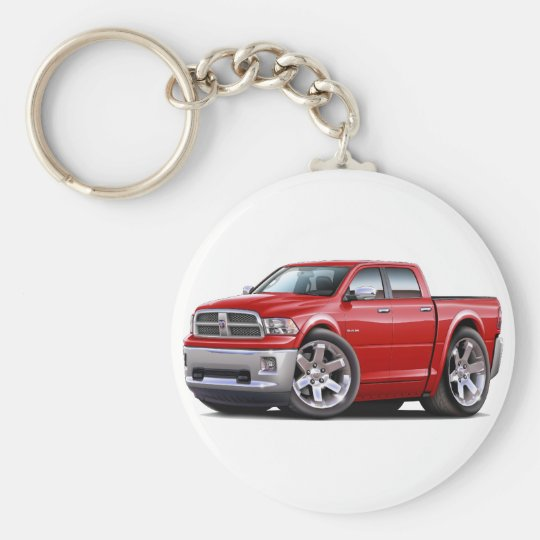 2010-12 Ram Dual Red Truck Basic Round Button Key Ring