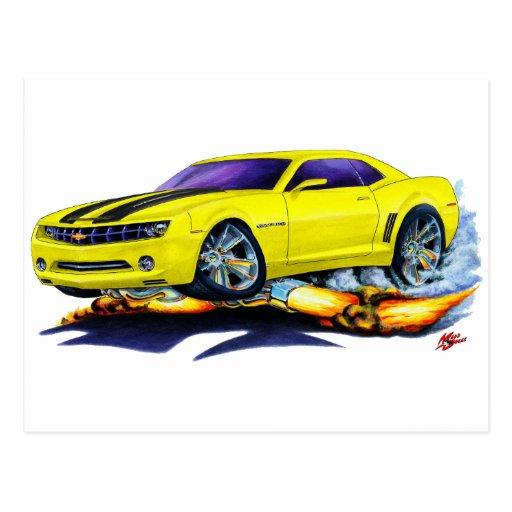 2010 Camaro Yellow-Black Car Postcard