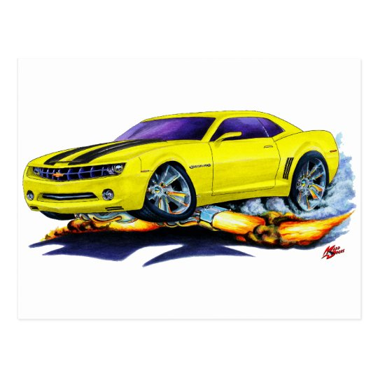 2010 Camaro Yellow-Black Car Postcard