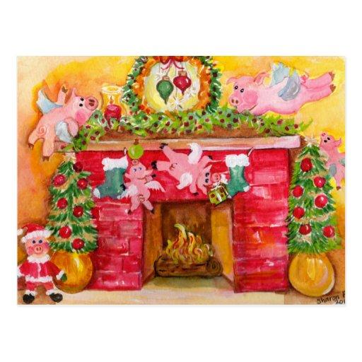 2010 Christmas Decorating Flying Pigs Postcard