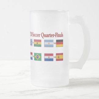 2010 Soccer Quarter-Finals Teams Frosted Glass Mug