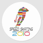 2010: Speed Skating Classic Round Sticker