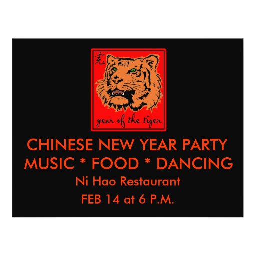 2010 Year of the Tiger Chinese New Year Custom Flyer