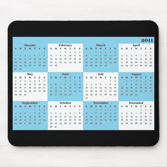 2011 calendar blue Mousepad