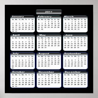 2011 Calendar Poster In Black
