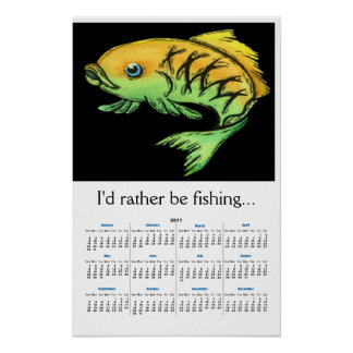 2011 Cartoon Fish Wall Calendar Poster