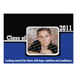 2011 Class Graduation Photo/ Blue Custom Invitations