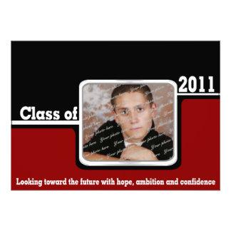 2011 Class Graduation Photo/ Red Invite
