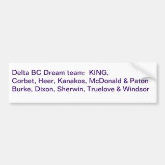 2011 Delta Purple Dream Team Bumper Sticker