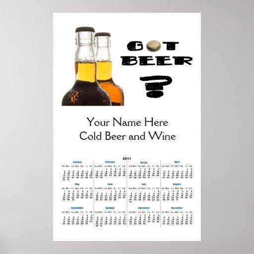 2011 Got Beer? Brewing or Liquor Store Calendar Posters