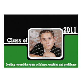 2011 Graduation Photo/ Green Personalized Announcements