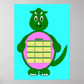 2011 Green Dinosaur Calendar Poster