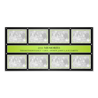 2011 Memories New Year Collage Lime Green Black Photo Cards
