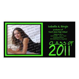 2011 Neon Green Photo Photo Card Template