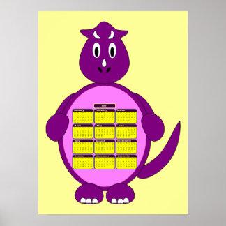 2011 Purple Dinosaur Calendar Poster