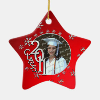 2011 Star Graduate Photo Double-Sided Star Ceramic Christmas Ornament