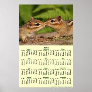 2012 Calendar - Baby Chipmunks Poster Calendar