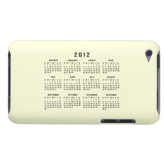 2012 Calendar Template iPod Touch Cover