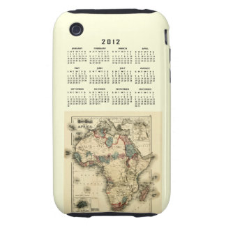 2012 Calendar with Africa Map Template Tough iPhone 3 Cases
