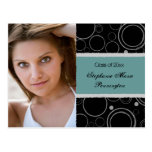 2012 Distressed teal graduation party announcement Postcard