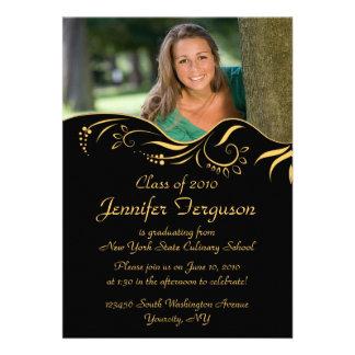 2012 Elegant gold swirls graduation party invite