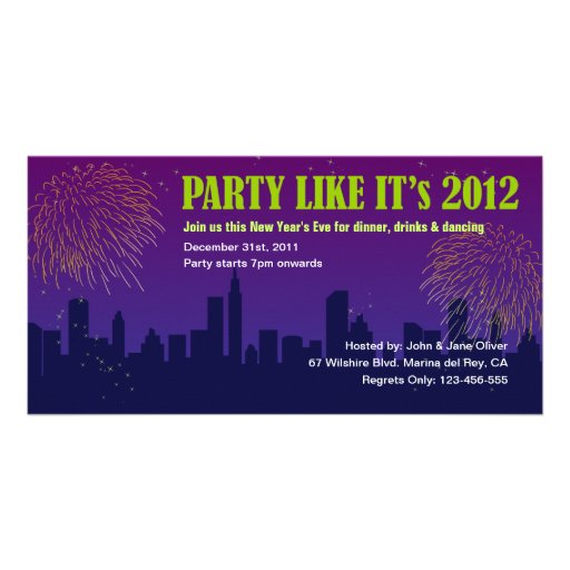 2012 Fireworks New Year's Eve Party Invitation Photo Greeting Card
