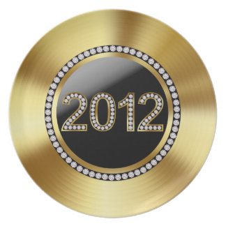 2012 Gold and Rhinestone Embellished Holiday Plate