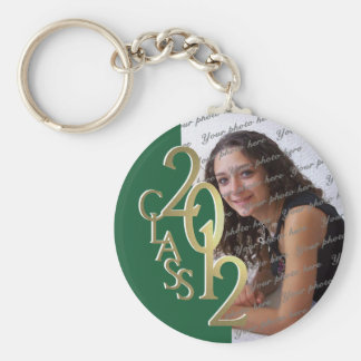 2012 Graduation Keepsake Gold and Green Basic Round Button Key Ring