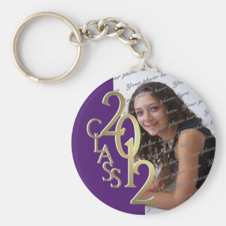 2012 Graduation Keepsake Gold and Purple Basic Round Button Key Ring