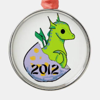 2012 Green Baby Dragon solo Christmas Ornament