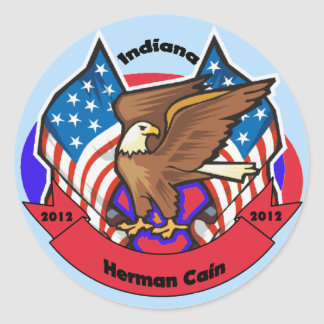 2012 Indiana for Herman Cain Round Sticker