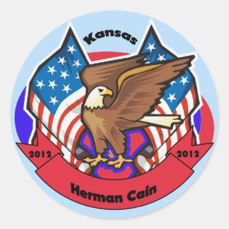 2012 Kansas for Herman Cain Round Stickers