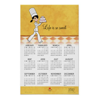 2012 Kitchen Calendar with Cake Chef Art Poster