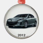 2012 Mazda3 4-door Christmas tree ornament. Silver-Colored Round Decoration