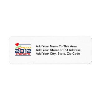 2012 Proud Grandpa T-shirts and Gifts Return Address Label