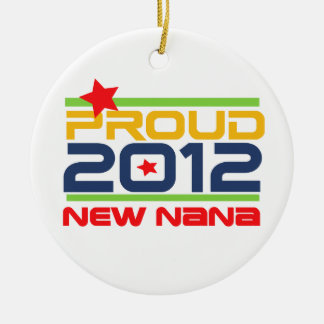 2012 Proud Nana T-shirts and Gifts Double-Sided Ceramic Round Christmas Ornament