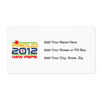 2012 Proud New Papa T-shirts and Gifts Shipping Label