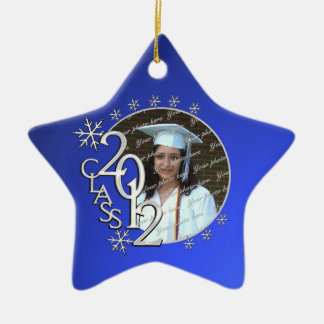 2012 Star Graduate Photo Double-Sided Star Ceramic Christmas Ornament