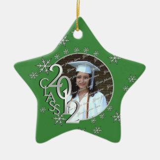 2012 Star Graduate Photo Green Christmas Ornaments
