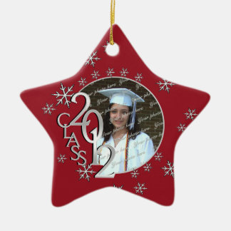 2012 Star Graduate Photo Red Double-Sided Star Ceramic Christmas Ornament