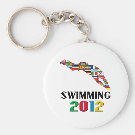 2012: Swimming Basic Round Button Key Ring